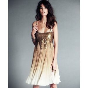 Free People Daydream Supernova Gold Sequin Dress